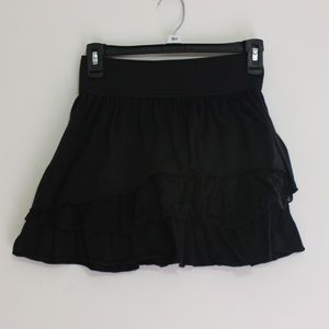 Black Short Skirt with Ruffles and Lace